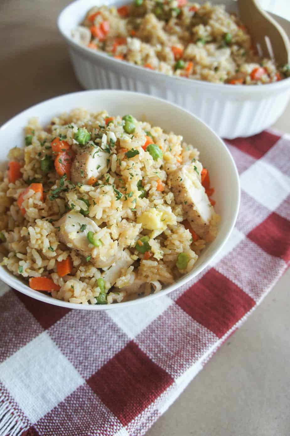 Chicken Fried Rice is the perfect summertime dish because it is made in under 30 minutes from start to finish!