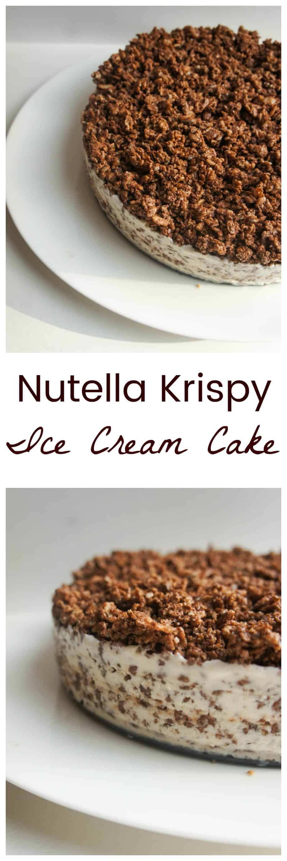 Nutella Rice Krispy Ice Cream Cake is the perfect end of summer treat! Refreshing, light and fun, this is a sure way to win everyone's hearts (and belly's!)