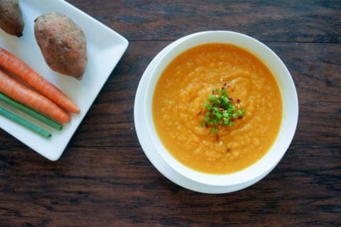 Fall is here with this carrot and sweet potato soup. Warm, comforting, and perfect for a chilly evening, this is even delicious with a bit of spice!