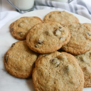 Simple and delicious Ghiardelli chocolate chip cookies are the perfect treat! Also freezable, this is the best recipe to keep on hand for any cookie craving!