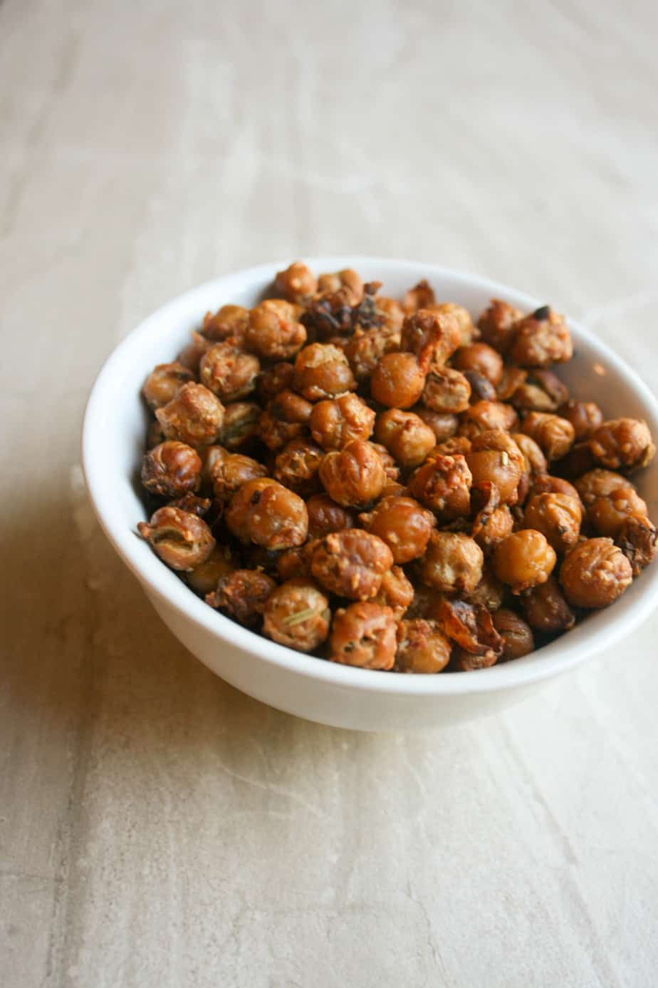 Crunchy roasted chickpeas are the perfect healthy snack or topping for a salad!