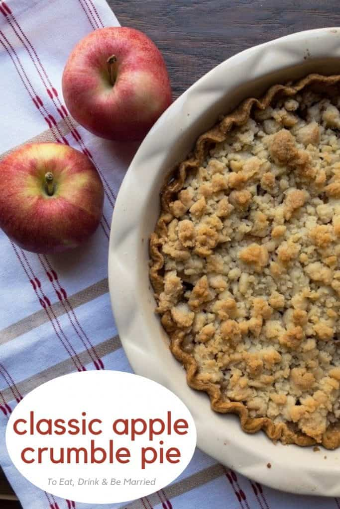A classic, Thanksgiving day Apple Crumble Pie. Tart apples, lots of cinnamon sugar, and buttery, sugary topping! So delicious!