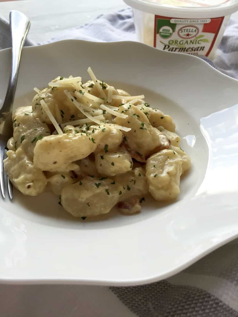 Pillows of soft gnocchi smoothly coated in a delicious white Parmesan sauce with bacon!