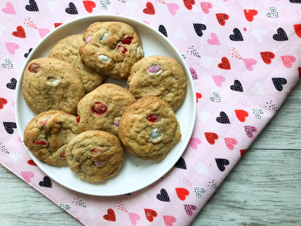 Valentine's M&M cookies