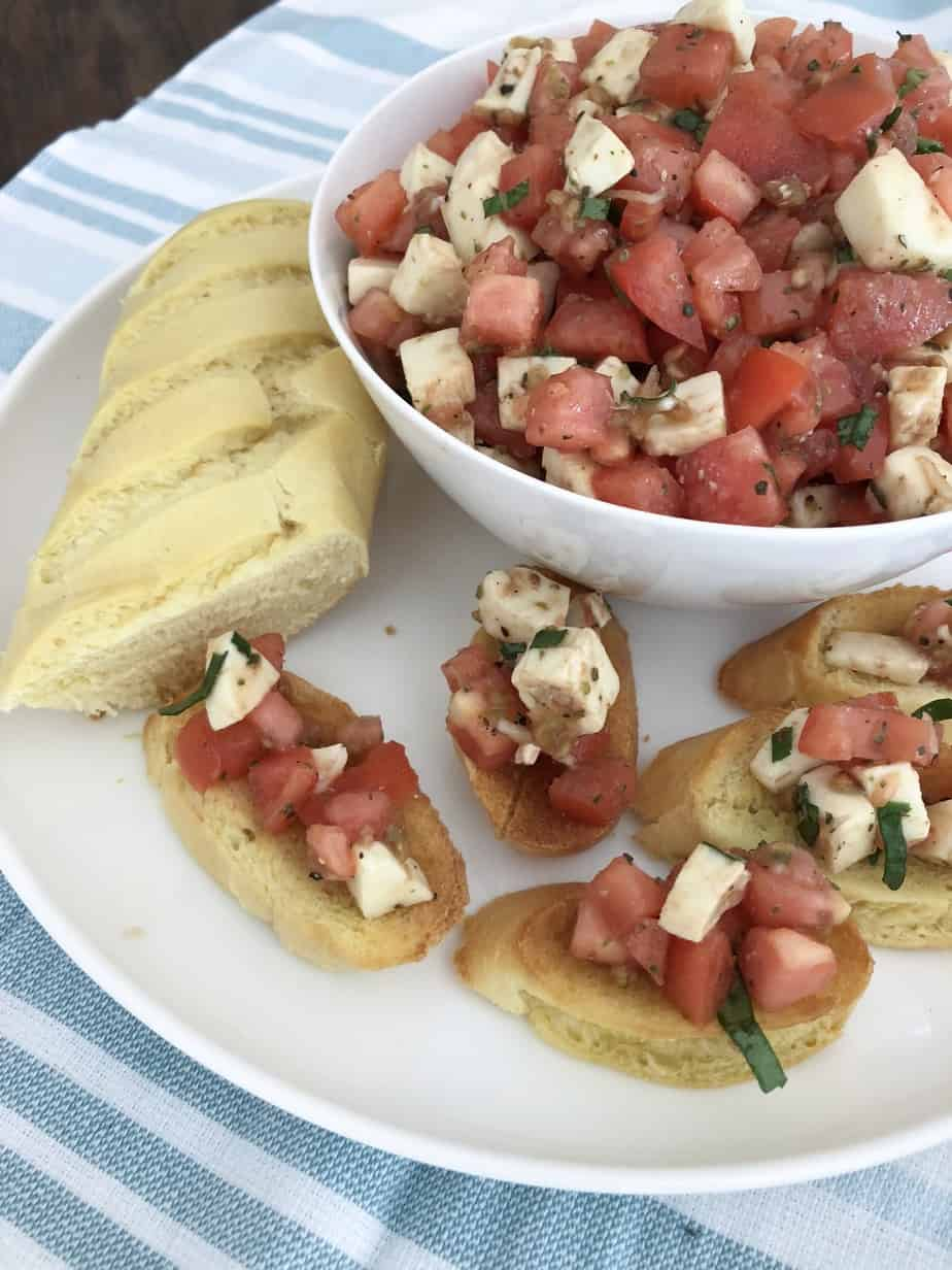 Easy Bruschetta Caprese appetizer with Stella Cheese