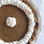 Sweet potato pie made with real sweet potatoes and homemade whipped cream is the perfect Thanksgiving treat!