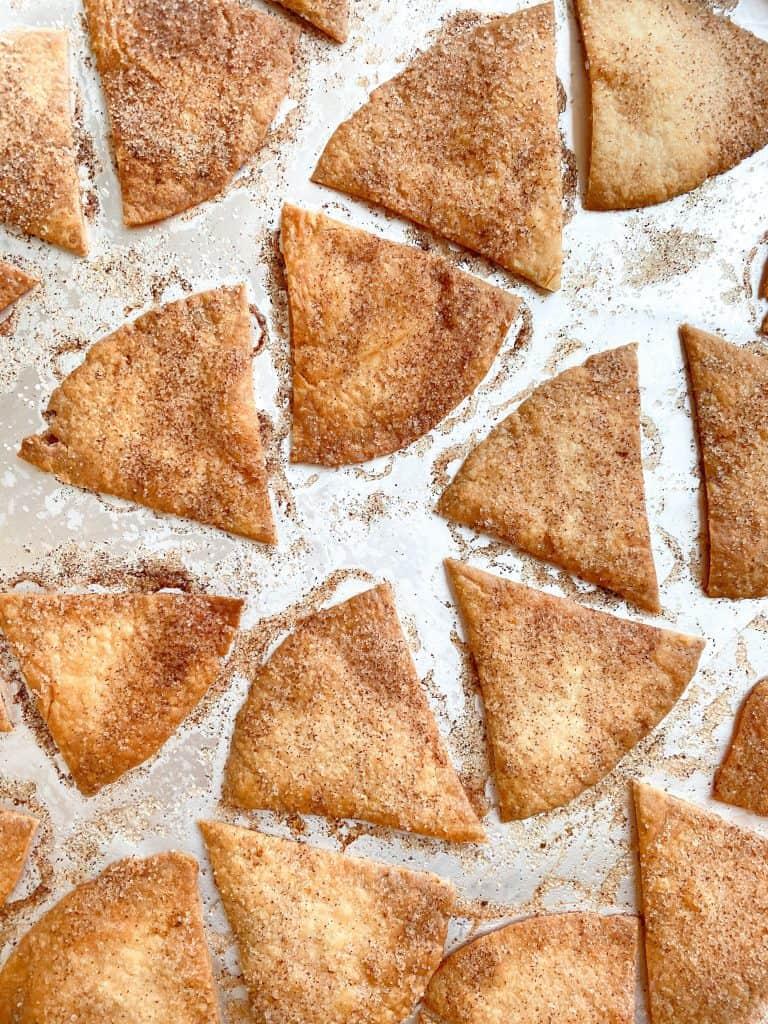Baked Sopapillas. Mexican Cinnamon Sugar Dessert Chips