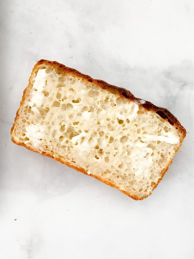 Sliced, toasted and buttered English muffin loaf
