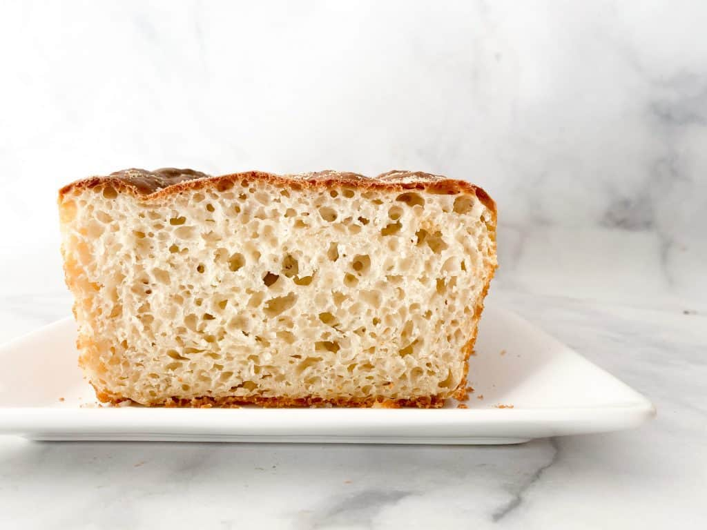 English Muffin Bread Loaf on a white plate