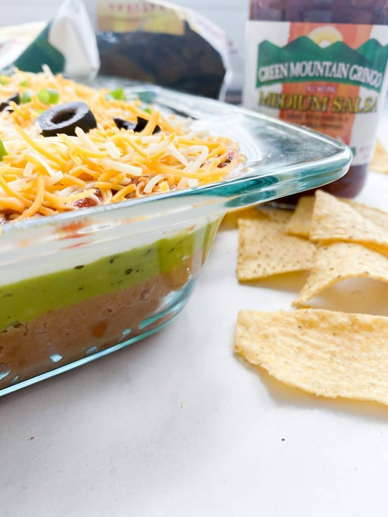 salsa, 7 layer dip and chips