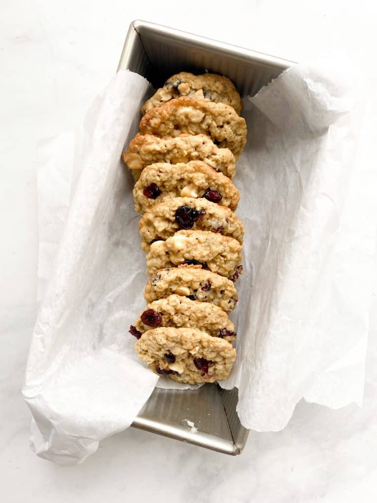 cranberry white chocolate chip oatmeal cookies in pan